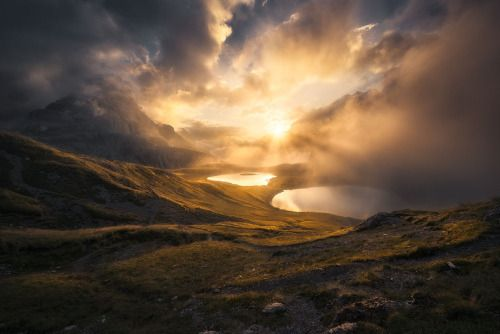 Eerie sunset. South Tyrol, Italy