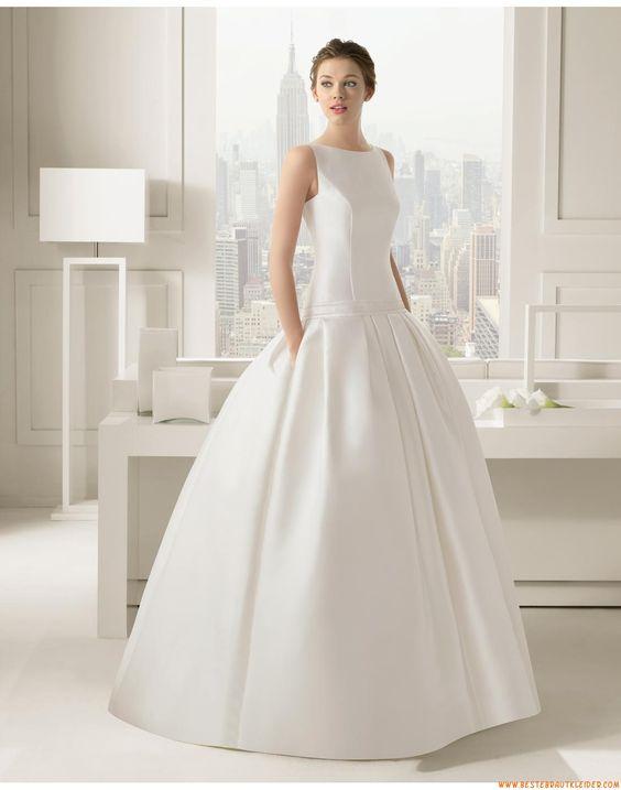 A-linie Ausgefallene Schlichte Brautkleider aus Taft mit Schleppe