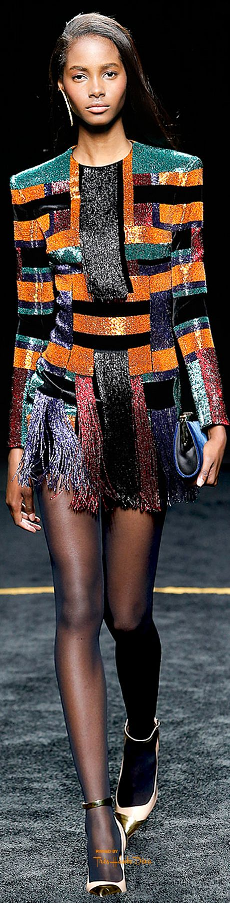 Balmain Fall 2015 RTW - gorgeous fabric, love the fringe as it is cut so fine as to glisten as it moves. Very fetching.
