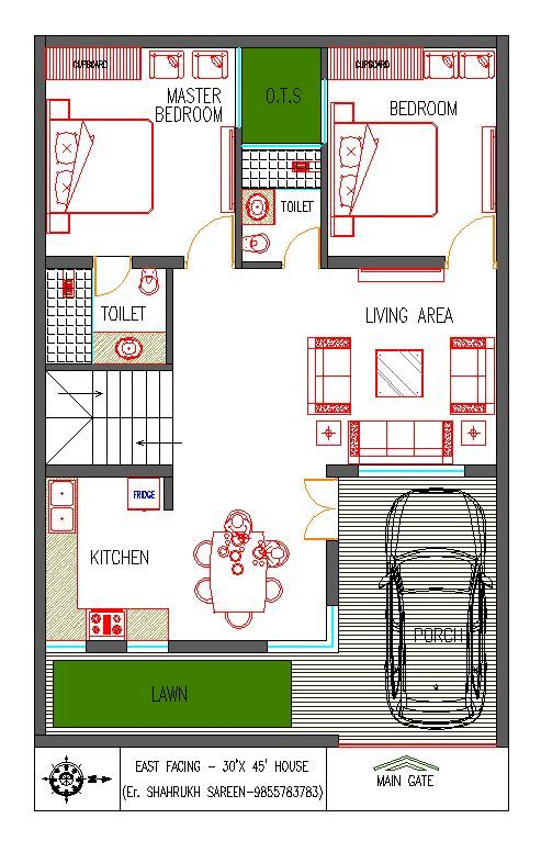 East Facing Vastu House Plan 30 X45 Little House Plans Budget House Plans Indian House Plans Small house plan east facing