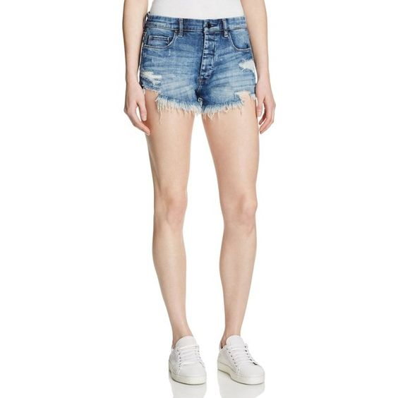 Blanknyc Distressed Cutoff Shorts in Fit of Rage ($93) ❤ liked on Polyvore featuring shorts, fit of rage, ripped shorts, torn shorts, distressed cut off shorts, blanknyc and summer shorts