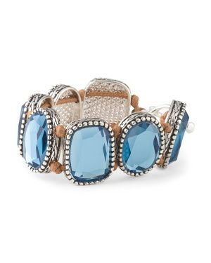Silver Tone Plated Glass Blue Stone Bracelet  ST. THOMAS - $24.99 - T.J. Maxx