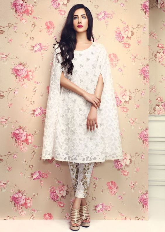 Stitching Styles Of Pakistani Dresses White Cape Style Shirt