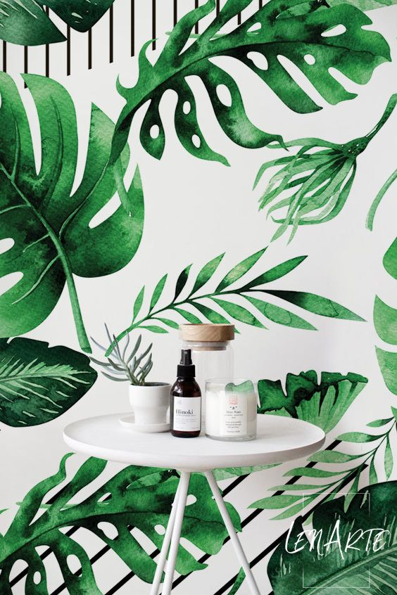 Nice Modern Floral Pattern Design Peel Stick Wallpaper With Lovely Green Decoration Greenery Removablewallpap Floral Wall Art Striped Wallpaper Wallpaper