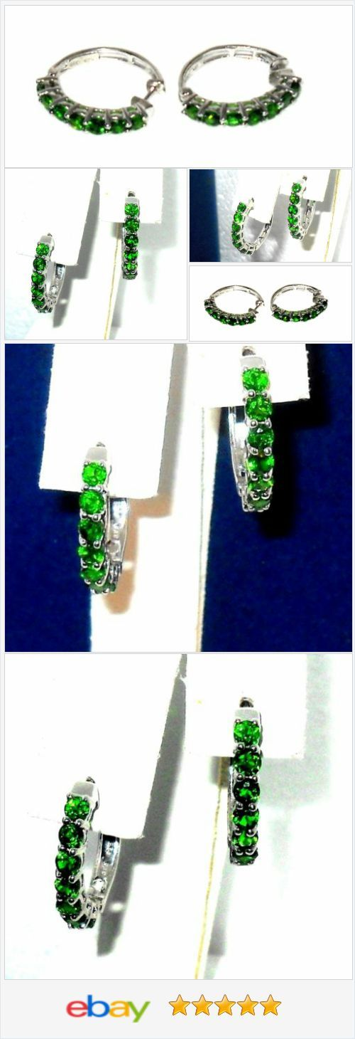 Russian Chrome Diopside Hoop Earrings 2.00 carats sterling silver .USA Seller  #ebay http://stores.ebay.com/JEWELRY-AND-GIFTS-BY-ALICE-AND-ANN