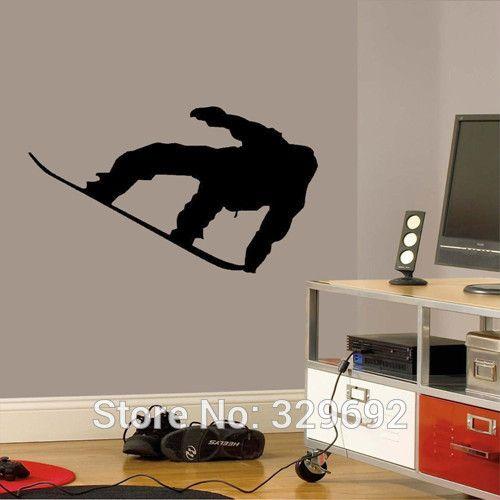 Barato Frete grátis Snowboarder Esporte Decalque Da Parede Do Vinil Da Arte…