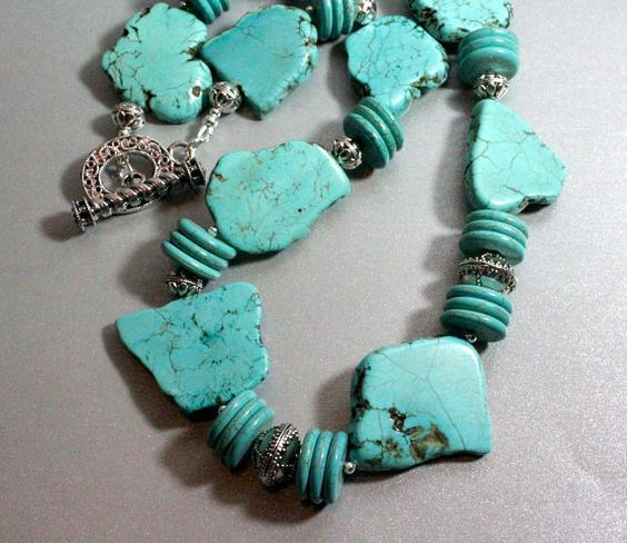 Turquoise Necklace with Freeform Slab and by NancysCrystalFantasi, $52,00