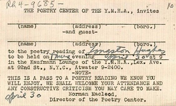 A pass to Langston Hughes's 1942 poetry reading