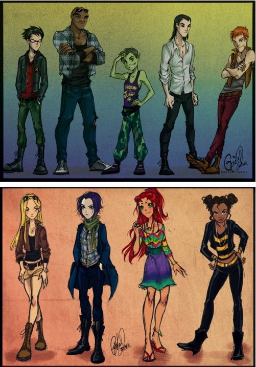 modernized teen titans, I literally cant get over this. Starfire is SOOO BEAUTIFUL // this will probably be what the cw series will look like.