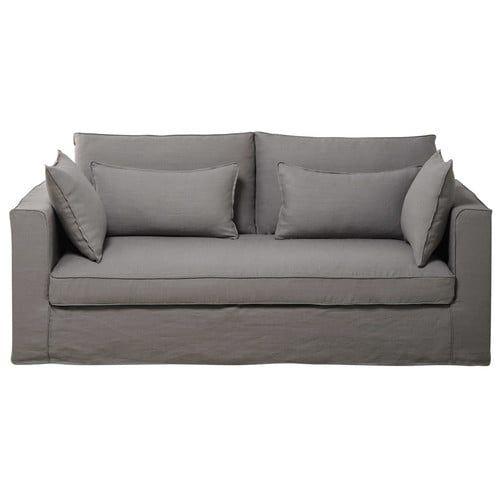 Sofa 3-sitzig aus Leinen, hellgrau