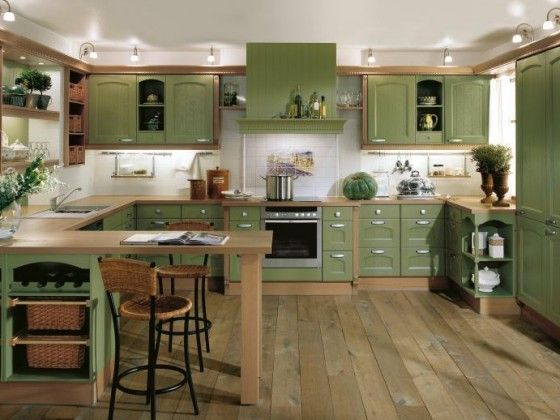Kitchen cabinet paint green kitchen interior design for Kitchen paint colors green