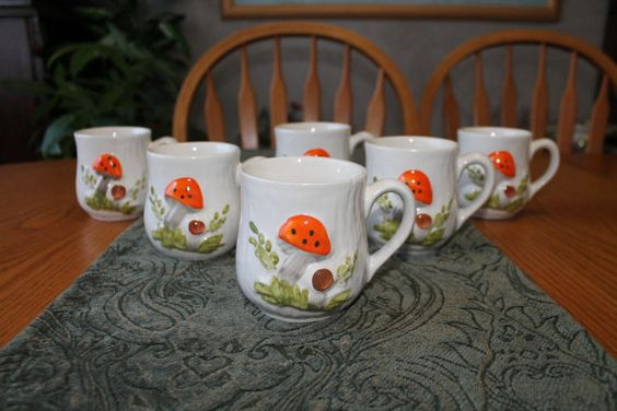 Vintage Mushroom Coffee Mugs  Mid Century by campeauscollectables