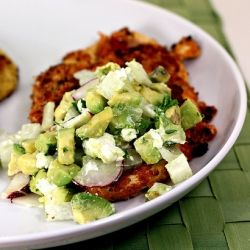 Buffalo Chicken with Avocado-Goat Cheese-Jicama Relish