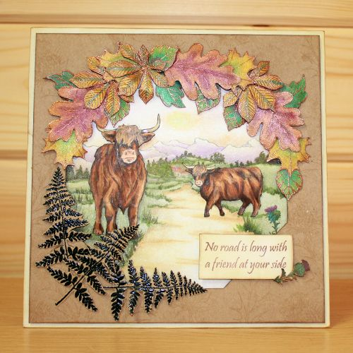 CS120D 'Highland Cattle' Clear set contains 12 stamps designed by the very talented Sharon Bennett for Hobby Art Stamps. Card by Sally Dodger: