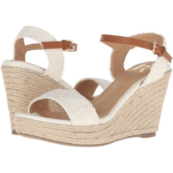 Report Kylen (Off-White) Women's Shoes ($21) ❤ liked on Polyvore featuring shoes, white, off white shoes, white ankle strap shoes, platform wedge shoes, report shoes and wedge shoes