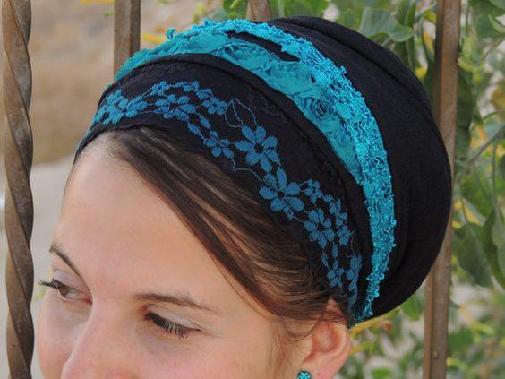 Flores turquesa tichel redecilla del pelo por SaraAttaliDesign