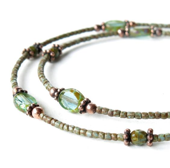 Aqua beaded necklace - Picasso Czech glass & copper