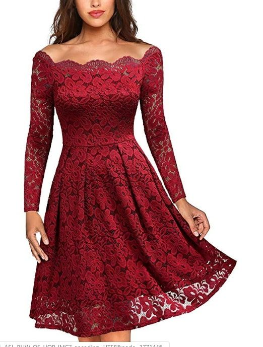 Women Fashion Floral Lace Formal Cocktail Evening Party Long Sleeve Mini Dress