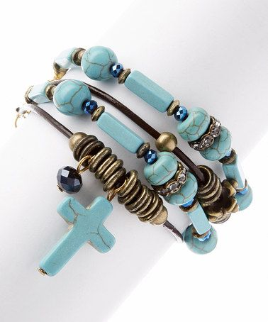 Look what I found on #zulily! Turquoise & Goldtone Cross Charm Bracelet #zulilyfinds