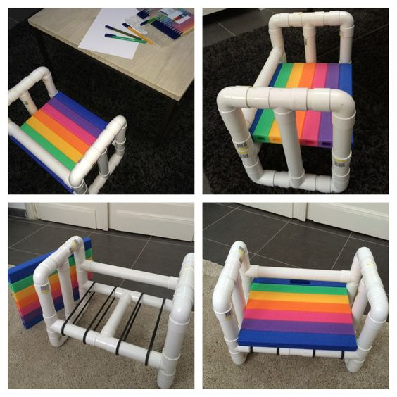 I made a little chair for children out of pvc pipes diy for Pvc furniture plans