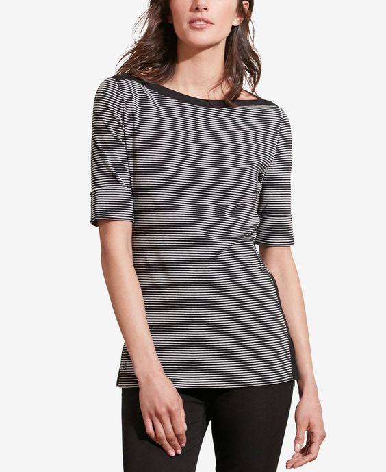 Lauren Ralph Lauren Petite Striped Stretch T-Shirt