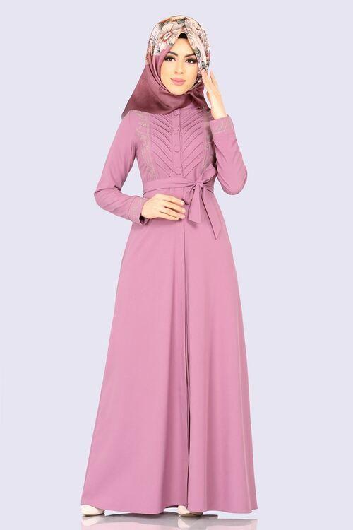 Modaselvim Elbise Nakisli Elbise Ferace 2143ms212 Pudra Dresses Muslim Fashion Abaya Dress