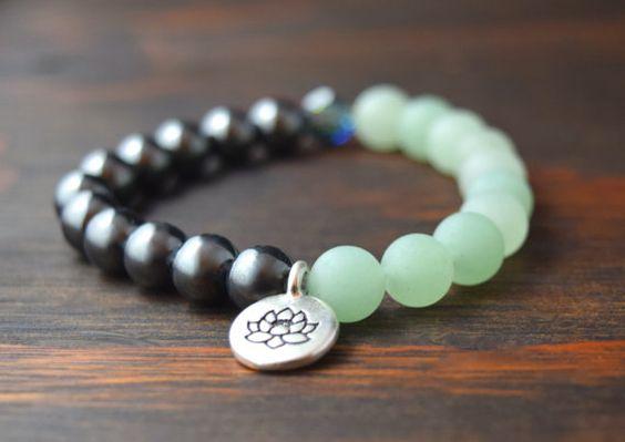 • Womens Beaded Bracelet - Aventurine and Hematite Bracelet - Lotus Flower Charm Bracelet - Womens Yoga Bracelet - Lotus and Lava Bracelet •