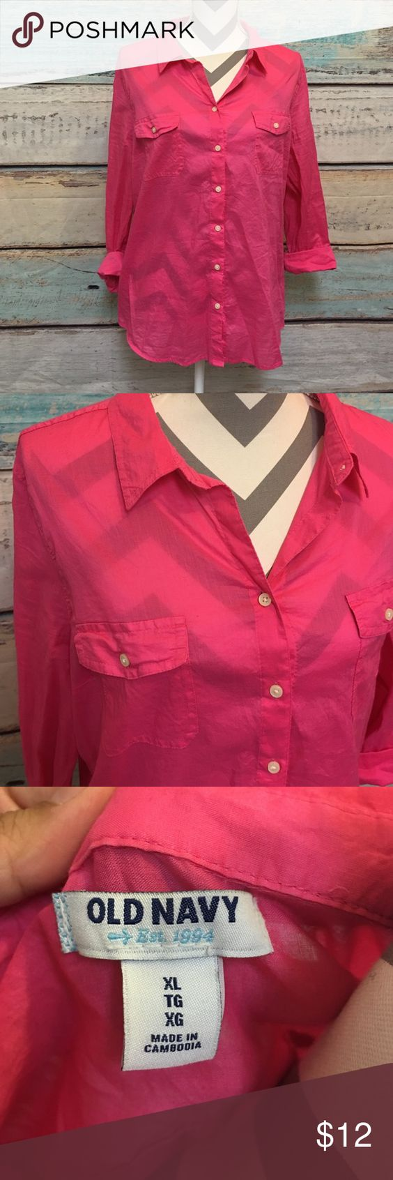 3/4 length sleeve Button up! Light weight hot pink button up from Od Navy. Only worn once. Great condition no flaws. Old Navy Tops Button Down Shirts