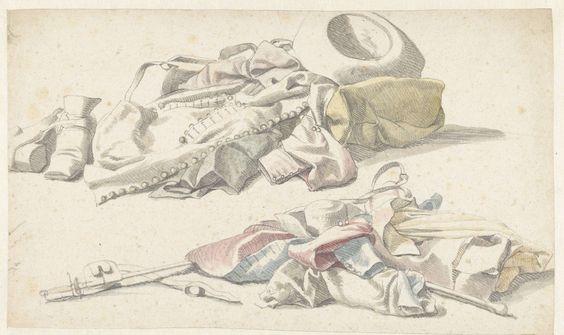Anonymous | Twee stillevens van de plunje van een soldaat, Anonymous, 1600 - 1699 |