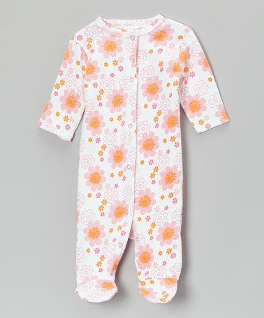 Loving this Pink & Orange Flower Blossom Footie on #zulily! #zulilyfinds