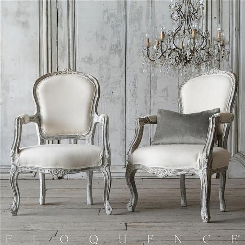 Eloquence® Pair of Vintage French Chipped White Carved Armchairs   Kathy Kuo Home
