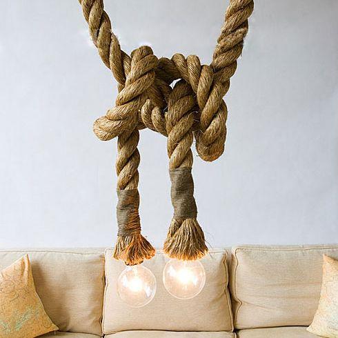Pas cher Lampes de table corde de la barre de lumière pendante de chanvre de…