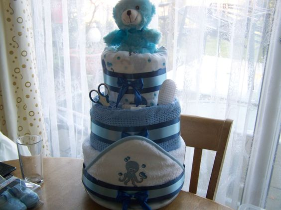 three tier  nappy cake