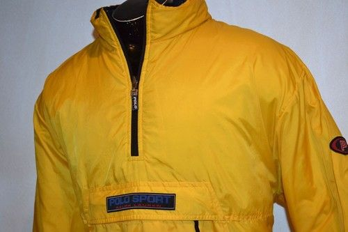 Mens Designer Ralph Lauren Polo Sport Jacket 2XL Puffer Reversible Yellow Blue | eBay