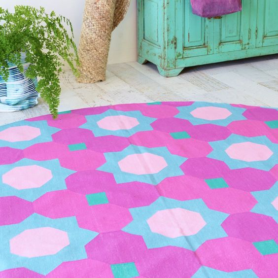 Geometric Cotton Flat Weave Round Rug