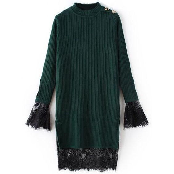 Lace Panel Ribbed Sweater Dress ($25) ❤ liked on Polyvore featuring dresses, sweater dresses, ribbed dress, lace insert dress, rib dress and green dress