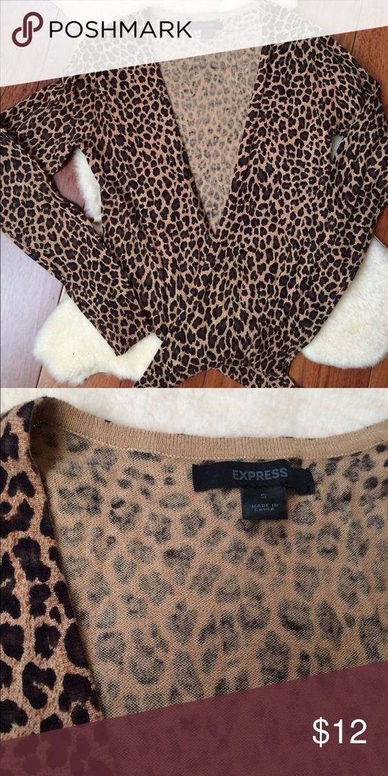 Express Leopard Print Open Cardigan Size S Great condition, cotton ...