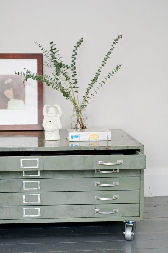 Green Flat File Cabinet Coffee Table An Architects Flat Paper File With Casters An Industrial