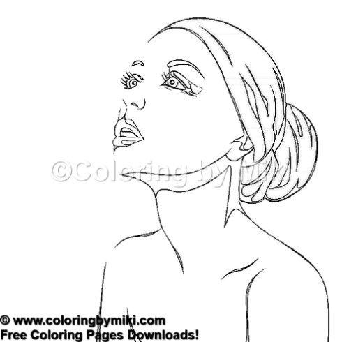 Beautiful Woman Portrait Coloring Page 1259 女性のポートレート ぬり絵 塗り絵