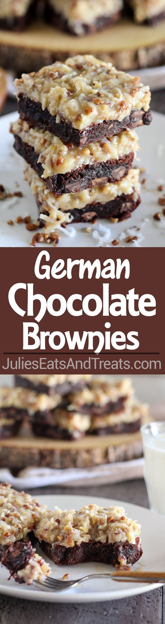 German Chocolate Brownies Recipe ~ Rich chocolaty brownies topped with a gooey homemade coconut pecan frosting. Make the brownies from scratch, or use a boxed brownie mix as the base of this recipe. You'll love this decadent dessert!