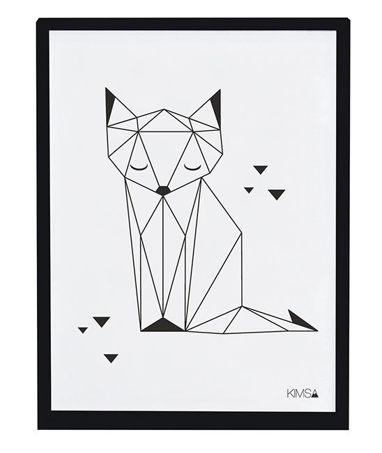 Affiche enfant renard noir et blanc