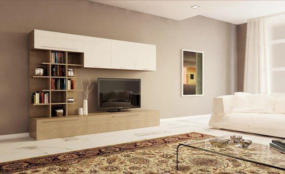 Parete soggiorno moderna con libreria design larice grigio e bianco laccato lucido