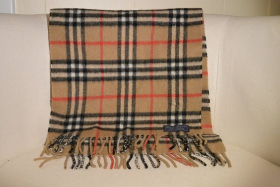 Vintage Burberry Cashmere Scarf by TheAdventurersLegacy on Etsy