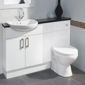 Balterley euro white gloss compact fitted bathroom for Small fitted bathrooms