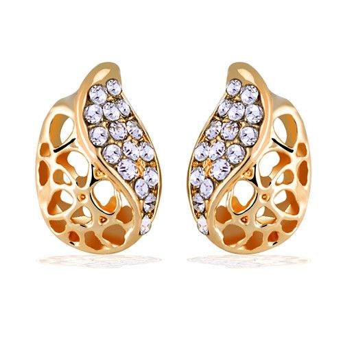 18K Gold Plated Earring For Women Jewelry Hollow Leaf