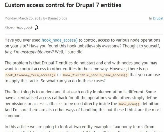 Custom access control for Drupal 7 entities | Web Omelette