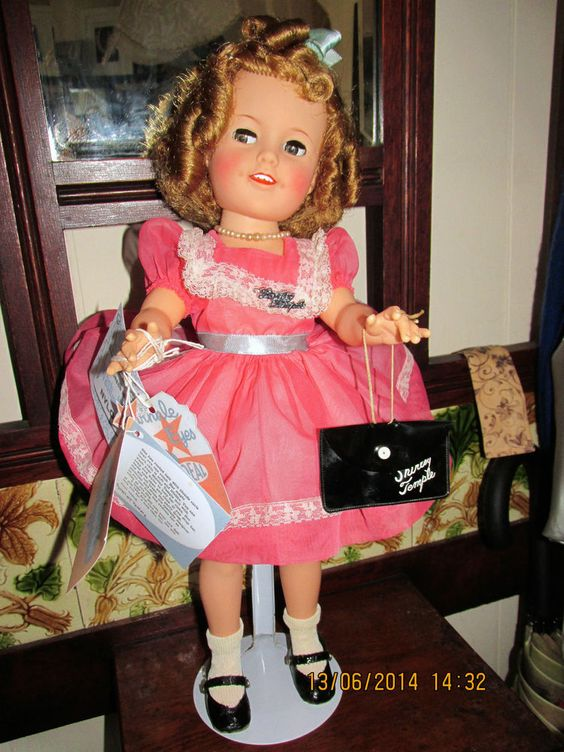 "SHIRLEY TEMPLE DOLL 1950'S 17"" FLIRTY EYED, TAG, NYLON PARTY DRESS, HANDBAG ETC"