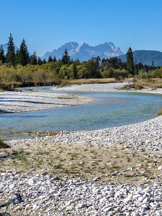 Oberbayern Im Isartal Bei Wallgau Wilde Flusslandschaft Im