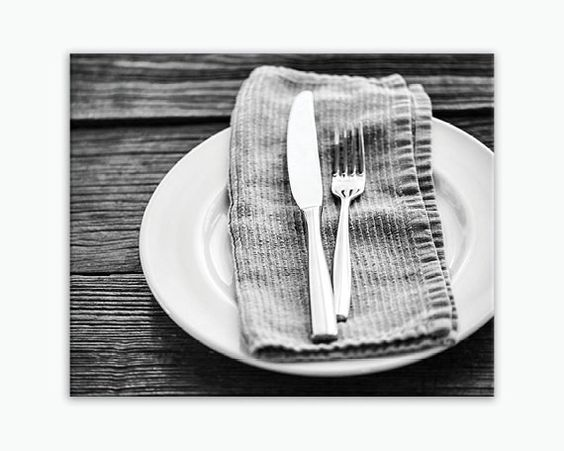 Ready-to-hang wrapped canvas print of a table setting, large rustic black and white kitchen wall art print on canvas, sizes 5x7 to 30x40. Title: Dinner Time II Canvas prints are professionally-stretch