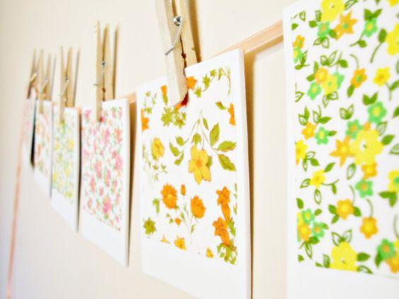 Vintage Fabric Banner  Retro Flower by chrystalyn on Etsy, $15.00